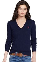 Polo Ralph Lauren Cable Knit V Neck Sweater - Lyst