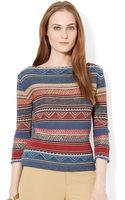 Lauren by Ralph Lauren Linen Cotton Sweater - Lyst