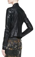 Donna Karan New York Leather Cozy Jacket with Jersey Insert - Lyst