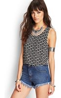 Forever 21 Printed Cutout Tank Top - Lyst