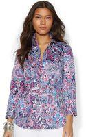 Lauren by Ralph Lauren Three-quarter-sleeve Paisley Sateen Shirt - Lyst