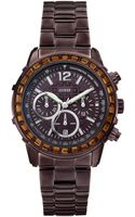 Guess Watch Womens Chronograph Bronze Tone Stainless Steel Bracelet 41mm - Lyst