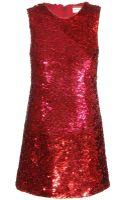 Saint Laurent Sequin Silk Dress - Lyst