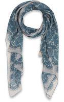Valentino Light Blue Iconic Lace Print Silk Scarf - Lyst