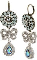Betsey Johnson Crystal and Bow Drop Earrings - Lyst