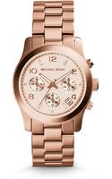 Michael Kors Rose Goldtone Stainless Steel Chronograph Runway Watch - Lyst