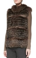 Rena Lange Tiered Fox Fur and Knit Vest - Lyst