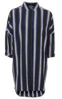 Topshop Striped Grandad Shirt Dress - Lyst