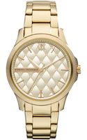 Armani Exchange Ax Armani Exchange Watch Womens Gold Ion Plated Stainless Steel Bracelet 36mm - Lyst