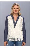 Karen Kane Denim Contrast Lace Top - Lyst