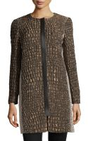 Lafayette 148 New York Shira Reptile Jacquard Faux Leather Trimmed Coat - Lyst