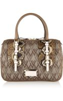 Valentino Python and Leathertrimmed Canvas Tote - Lyst