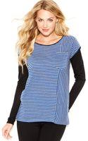 Kensie Scoopneck Longsleeve Oversized Striped Tee - Lyst