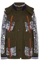 Rodarte Olive Canvas Fourpocket Jacket with Hand Embroidered Iridescent Burnt Edged Paillettes - Lyst