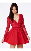 Missguided Dayana Red Lace Sleeve Puff Ball Dress - Lyst