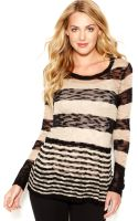 Kensie Scoopneck Striped Sheer Sweater - Lyst