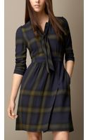 Burberry Check Wool Tiedetail Dress - Lyst