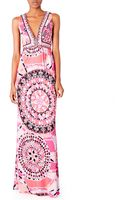 Emilio Pucci Vneck Printed Maxi Dress - Lyst