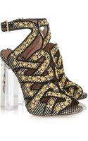 Alaïa Plexiglasheeled Embellished Raffia Sandals - Lyst