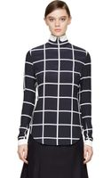 Thom Browne Navy and Grey Silk Window Pane Blouse - Lyst