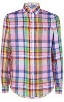 Polo Ralph Lauren Custom Fit Checked Linen Shirt - Lyst