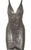Hervé Léger Ari Metallic Bandage Mini Dress - Lyst