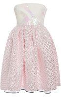 Monique Lhuillier Iridescent Pink Matelasse Strapless Embroidered Empire Dress - Lyst