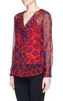 Diane Von Furstenberg Reese Cheetah Print Ruffle Silk Blouse - Lyst