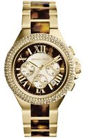 Michael Kors Womens Chronograph Camille Tortoise and Goldtone Stainless Steel Bracelet Watch 43mm - Lyst