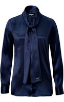 DSquared2 Tie-front Silk Blouse - Lyst