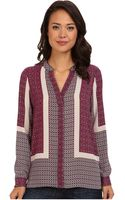 Nydj Scarf Print Button Front Blouse - Lyst