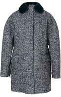 MSGM Furtrimmed Bonded Wool Coat - Lyst