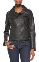 T Tahari Ingrid Leather Asymmetric-zip Moto Jacket - Lyst