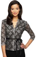 Alex Evenings Graphic Floral Print Blouse with Tie Belt - Lyst