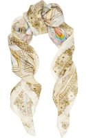 Swash Carousel Champagne Printed Linen and Silk-blend Scarf - Lyst