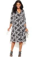 Inc International Concepts Plus Size Printed Fauxwrap Dress - Lyst