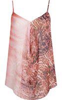 River Island Pink Animal Print Draped Cami Top - Lyst