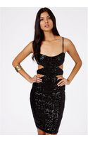 Missguided Marcelina Sequin Double Cut Out Bodycon Mini Dress in Black - Lyst