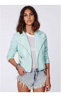 Missguided Shaina Mint Biker Jacket - Lyst