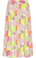 River Island Fluro Yellow Floral Print Midi Skirt - Lyst