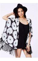 Missguided Brenka Tasselled Kimono in Daisy Print - Lyst