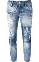 DSquared2 Distressed Straight Leg Jean - Lyst