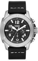 Fossil Mens Modern Machine Black Leather Strap Watch 45mm - Lyst