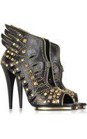 Roberto Cavalli Angel Black Leather Studded Sandal - Lyst