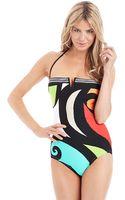Trina Turk Pop Wave Bandeau Onepiece Swimsuit - Lyst