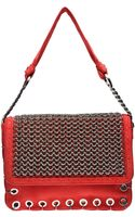 Versus  Suede Shoulder Bag with Chainmail - Lyst