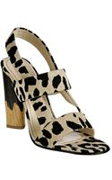 Saint Laurent Tan Leopard Canvas Delave Slingback Sandals - Lyst