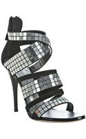 Giuseppe Zanotti Black Suede Mirrored Crisscross Sandals - Lyst