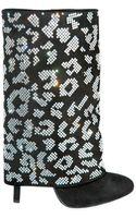 Balmain Crystal Leopard Flap Boots - Lyst