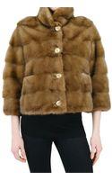 Simonetta Ravizza Short Mink Gathered Back Fur Coat - Lyst